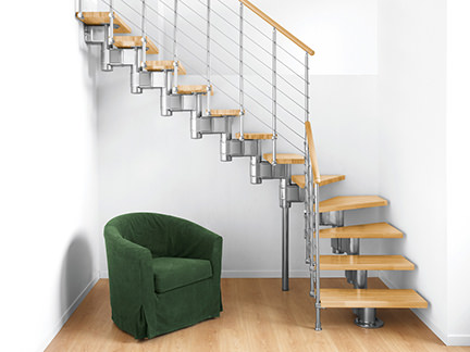 modern staircase with beech treads