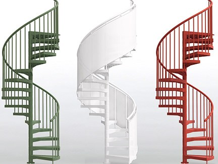 red, white and green metal spiral staircases