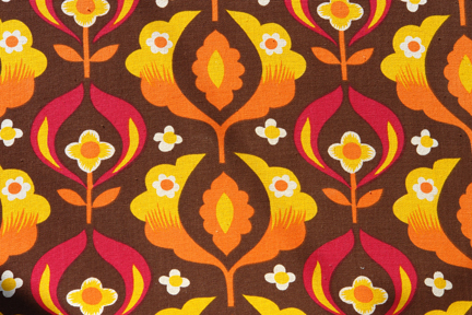 Detail of floral fabric on vintage sunlounger