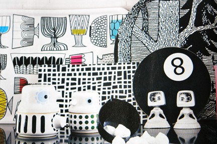 page from contemporary Swedish interiors magazine featuring a selection of Black & white items