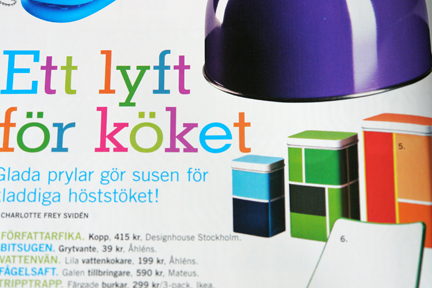 page from a contemporary Swedish interiors magazine featuring a selection of colourful items