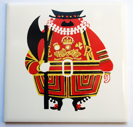 "vintage ""Beefeater"" ceramic tile designed by Kenneth Townsend"