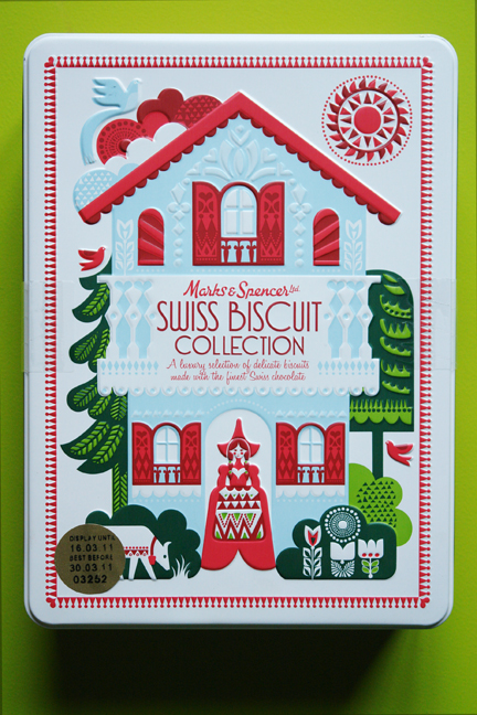 Marks &amp; Spencer Swiss biscuit collection biscuit tin designed by Sanna Annukka