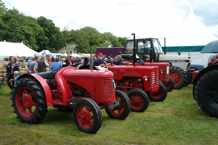 red vintage tractors on display at the Todmorden Agricultural Show