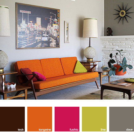 living room with orange, pink and lime highlights
