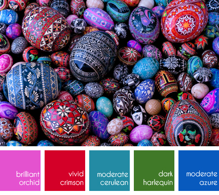 collection of brightly painted Pysanky eggs