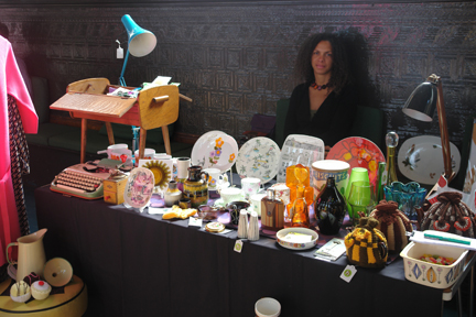 Adelle on the H is for Home stall at the vintage fair at Todmorden Town Hall