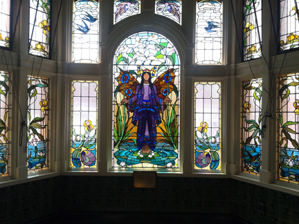"""Angel of Purity"" stained glass window at Victoria Baths, Manchester"