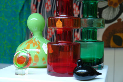 stall selling a selection of vintage mid century modern glass objects