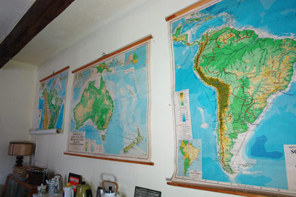 three large vintage school wall maps, USA, Australia & New Zealand and South America