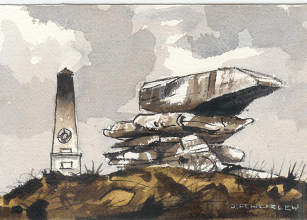 "small watercolour painting entitled, ""Pots & Pans, War Memorial, Saddleworth Moors"" by J A Hurley"