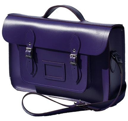 purple leather satchel from Cambridge Satchel Company
