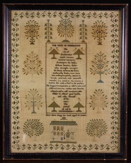 antique Victorian sampler sold at Wilkinson's Auctioneers in Doncaster