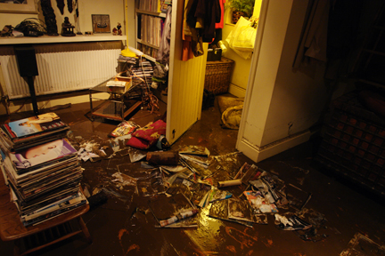 Our sitting room the day after the flooding