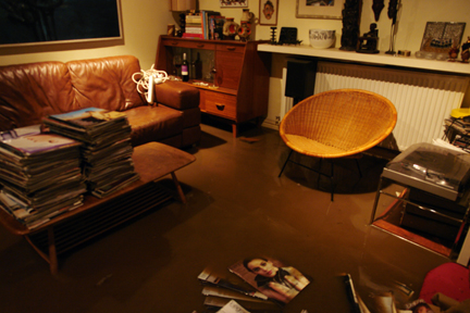 Our sitting room the morning after the flooding still with almost a foot of water