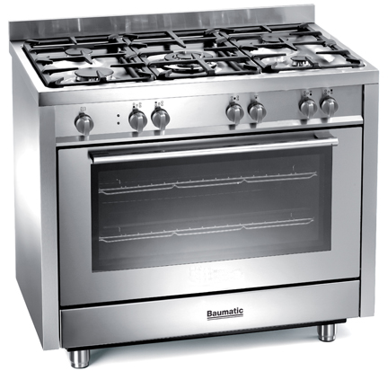 Stainless steel BCG900SS Baumatic gas range cooker