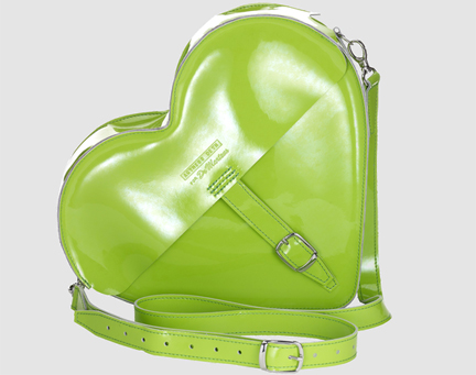 acid green patent leather heart shaped satchel designed by Agness Deyn for Dr Martens