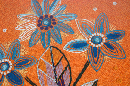 detail fro a framed & glazed vintage wool work in shades of orange featuring stemmed flowers