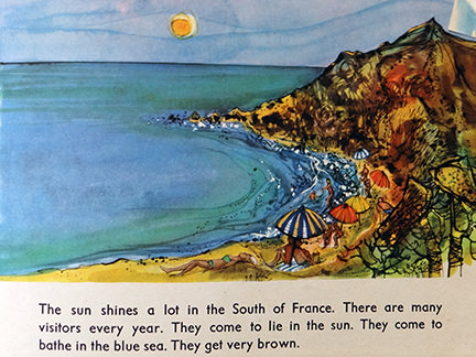 illustration of people sunbathing on a beach and sitting under umbrellas from the France edition in the World Dolls Series of children's books