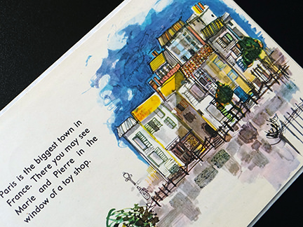 illustration of town-houses from the France edition in the World Dolls Series of children's books