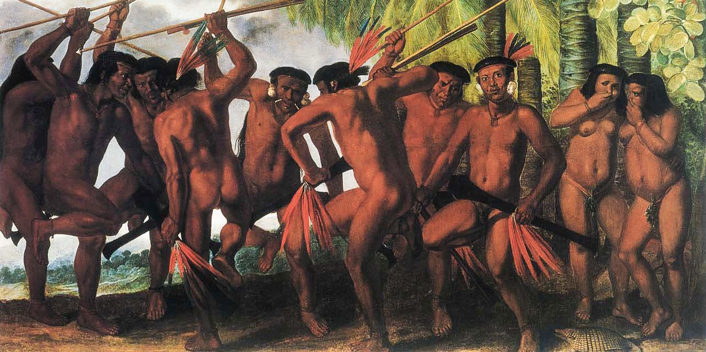 Dança dos Tapuias em quadro de Albert Eckhout exposto no Museu Nacional da Dinamarca