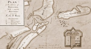 This is a map drawn by Lafon in 1813 of Grande Terre, showing a proposed military battery which was never built.