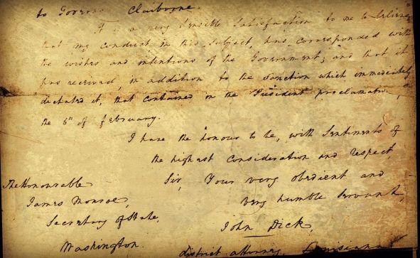 John Dick letter to James Monroe
