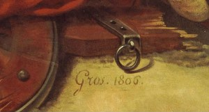 Gros signature on Battle of Aboukir painting
