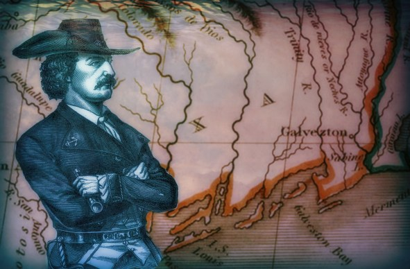 Jean Laffite in front of an early 1800s map of the Galveston area.