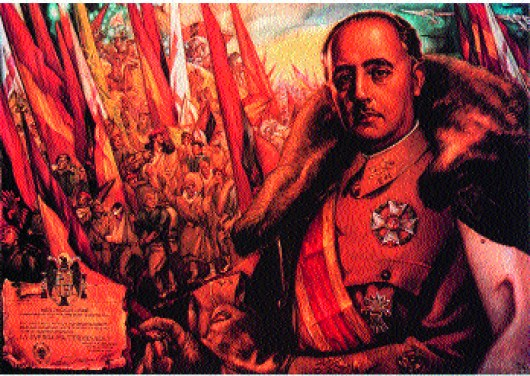 Propaganda poster of Franco as 'saviour' engaged in a religious crusade.