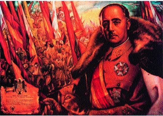 Propaganda poster of Franco as 'saviour' engaged in a religious crusade.