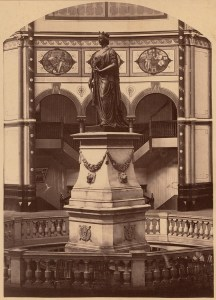 """Photo courtesy of the State Library of NSW -  Queens Statue, Garden Palace Building, Sydney, between 1879-1882 / [NSW Government Printer ?]  Sydney has two large bronze statues of Queen Victoria but this one no longer exists. The """"Garden Palace"""" which housed the International Exhibition between 1879-1882, was destroyed by a fire with flames which could be seen for 20 miles. A pond in the Botanic Gardens marks the spot where the statue stood under the dome."""