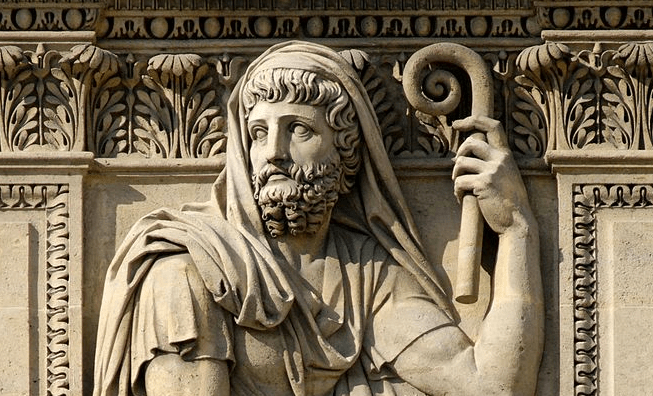 Herodotus by Jean-Guillaume Moitte, 1806. Relief on the right of the left window, right part of the west façade of the Cour Carrée in the Louvre Palace, Paris. Photo by Jastrow / Wikipedia Commons