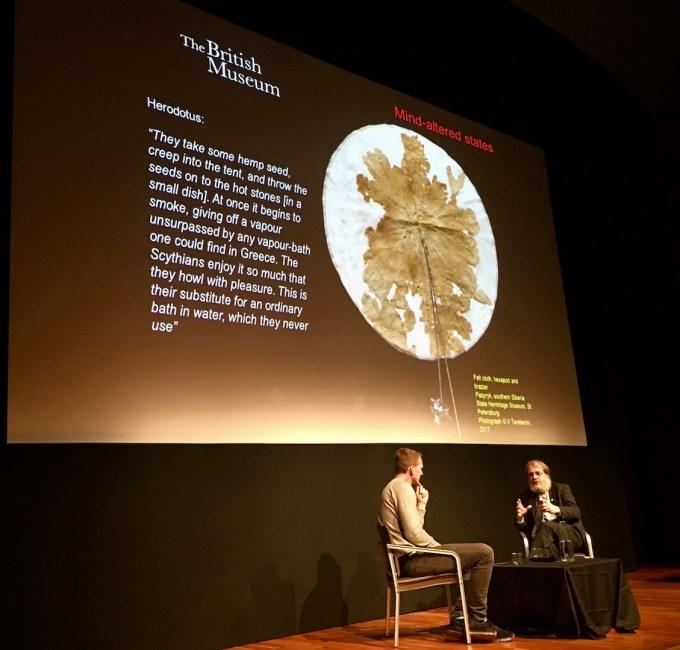 "Dan Snow and St John Simpson talk about the Scythian enjoyment of hemp for ""medicinal purposes""."