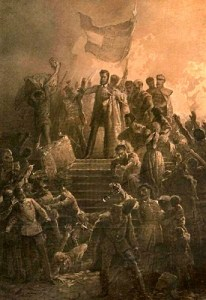 image of a painting by the Hungarian artist mihály zichy's that shows revolutionary sándor petőfi reciting the nemzeti dal to a crowd on march 15, 1848.