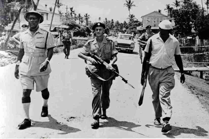 British troops with colonial police in British Guiana in 1962
