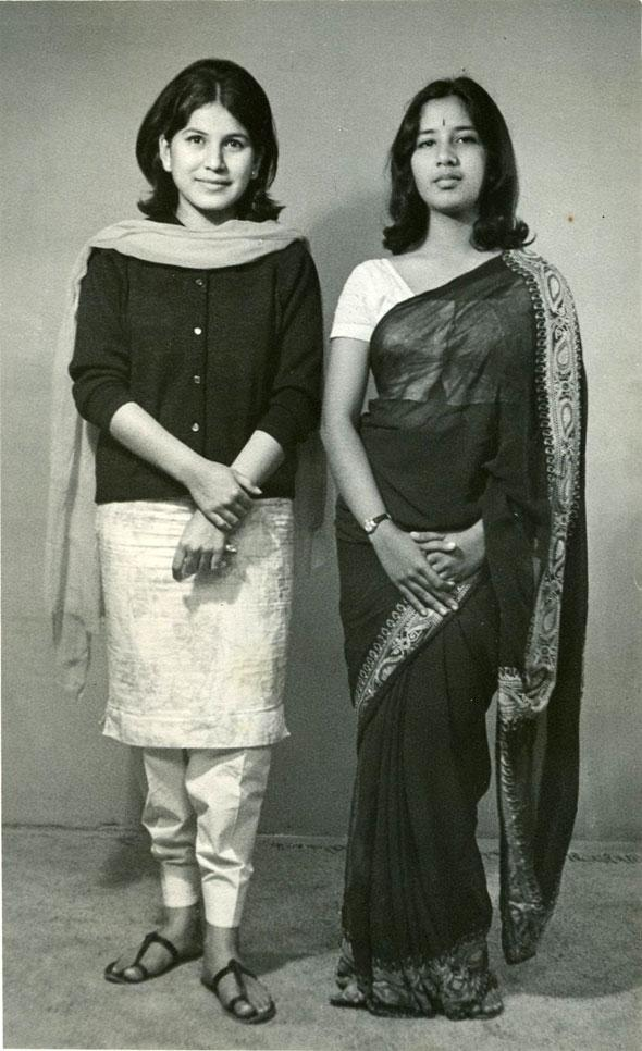 """My mother Anupa Nathaniel (right) with her closest friend Shalini Gupta, Delhi, Circa 1962"" North India's first girl rock band, The Mad Hatters Image and Text contributed by Anisha Jacob Sachdev, New Delhi  http://www.indianmemoryproject.com/27-2/"