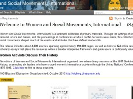 Screenshot of the Women and Social Movements, International website