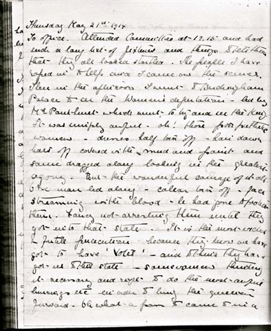 Kate's diary entry for 21 May 1914, describing the WSPU demonstration outside Buckingham Palace