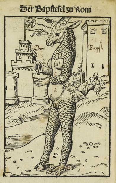 'Pope Donkey', Deutung des Papstesels zu Rom Philipp Melanchthon (1523)