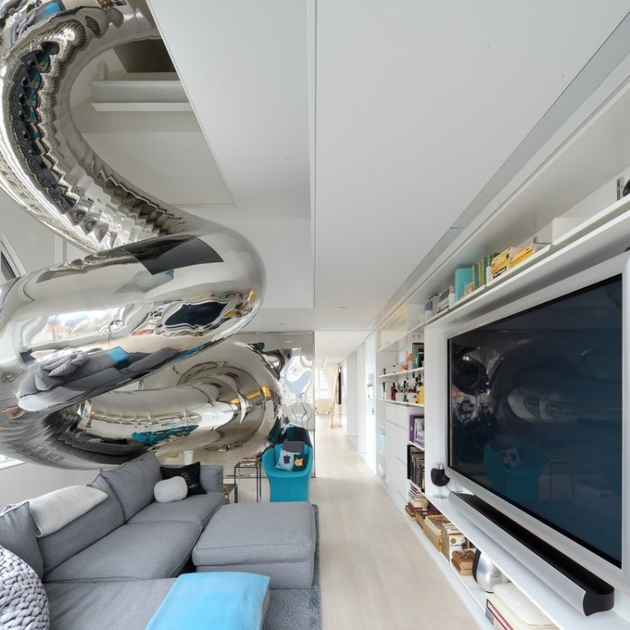 new york design  An 80 foot slide. In their house.
