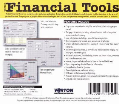 Vorton Financial Tools PC CD calculate finance money debt budget calculator tool