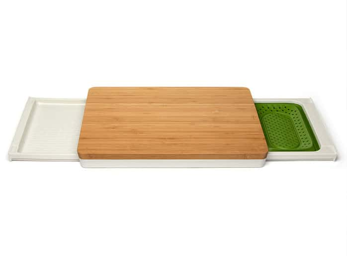 bamboo cutting board with transfer tray and colander