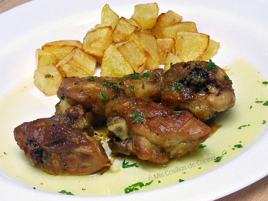 pollo al ajillo con salsa de soja y miel