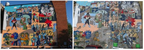 Adams Mill Road mural after it was restored in 2005 (left, photo © Rick Reinhard), and today (right: photo © holacultura.com).