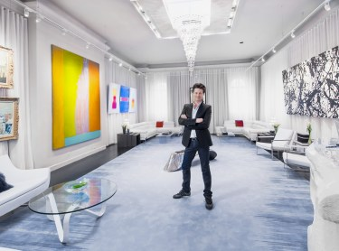 "Designer Justin Shaulis in his ""Gallery Hopping in Miami"" space. Photo by Alan Barry."
