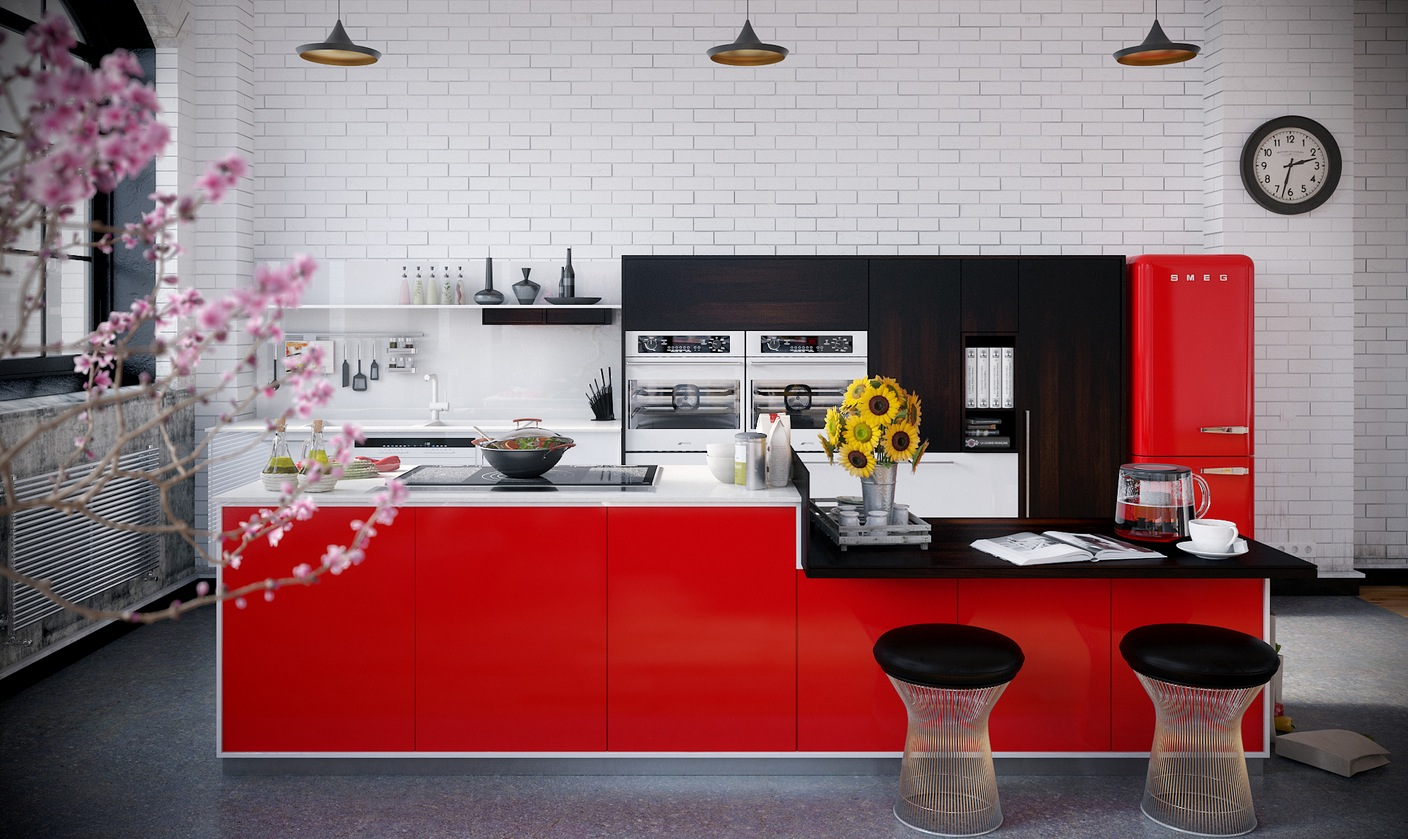 RIP3D Industrial Loft red monochrome kitchen on brick background with pendant lighting