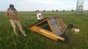 The wind can't hurt this moveable chicken coop