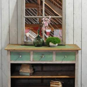 Antique Pine Shop Counter With Original Aqua Paintwork