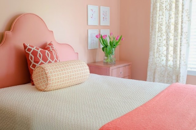 Monochromatic Coral Bedroom